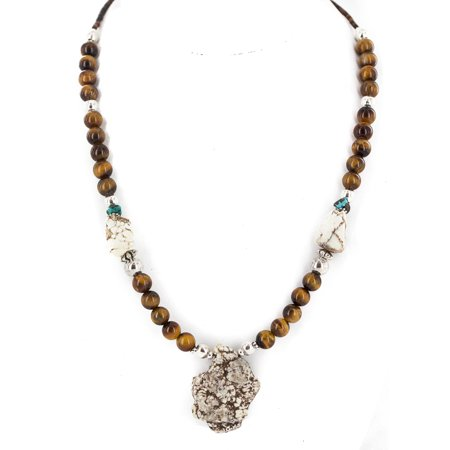.925 Sterling Silver Certified Authentic Navajo White Turquoise Tigers Eye Native American Necklace