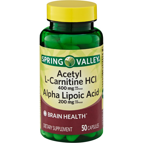 Spring Valley Acetyl L-Carnitine HCI & Alpha Lipoic Acid Dietary Supplement Capsules, 50 count