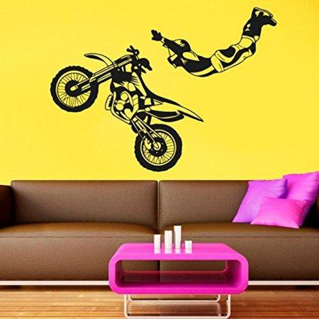 Wall Decal Vinyl Sticker Decals Art Decor Design Bedroom Nursery Motocross Dirty Moto Jumping Freestyle Kids Bedroom Dorm Home  R1424