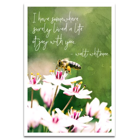 Visionary Prints 'A Life of Joy' | Nature Wall Art - Honey Bee with with Pink Flowers and Green Tones - Floral and Botanical | Modern Contemporary Poster Print, 13x19 (Best Flowers To Attract Honey Bees)