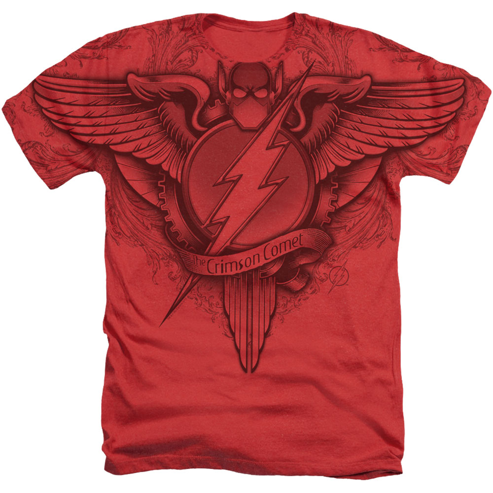 Justice League Flash Sublimation Winged Logo Mens Pullover Hoodie