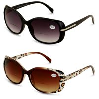 2 Pairs Women's Bifocals Reading Sunglasses Reader Glasses Vintage Outdoor Black and Leopard