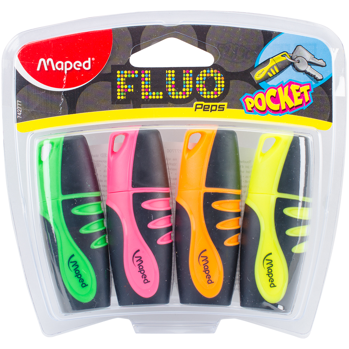 Fluo Mini Soft Grip Highlighter 4/Pkg-Yellow, Orange, Pink, & Green