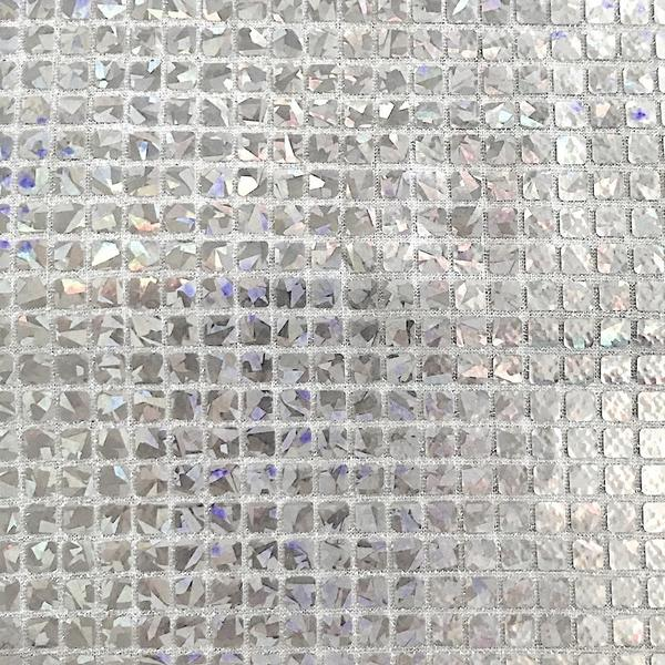 """Sequin Square Hologram Fabric SILVER 45/"""" Wide Sold by the yard"""