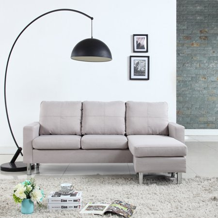 Modern Small Space Configurable Couch in Bonded Leather, Linen, Microfiber Upholstery, Beige ()