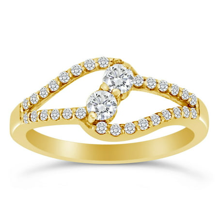 1/2ctw Diamond Two Stone Ring in 10k Yellow Gold