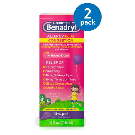 (2 Pack) Children's Benadryl Allergy Plus Congestion Liquid, Grape, 4 fl.