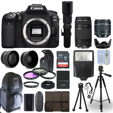 Canon EOS 90D DSLR Camera + 5 Lens Kit: 18-55mm STM + 75-300mm + 500mm and More