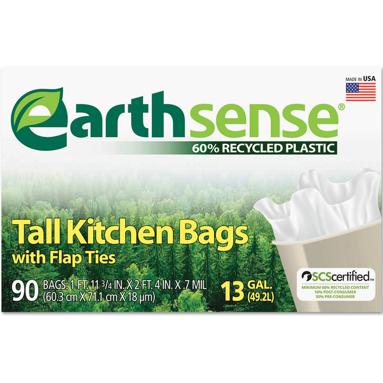Earthsense Recycled White Can Liners, 13 gal, 90 ct
