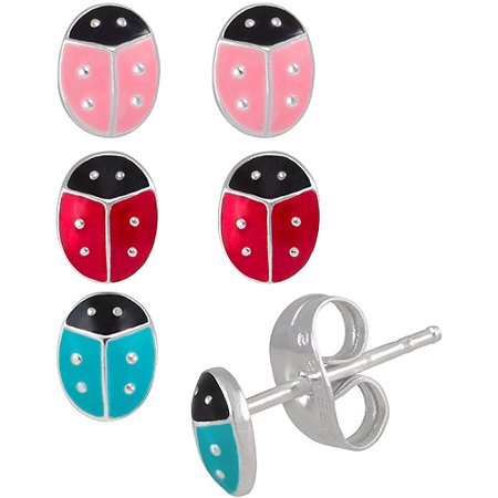 Eat Bugs (Girls' Sterling Silver Red, Blue and Pink Enamel Ladybug Stud Earring Set)