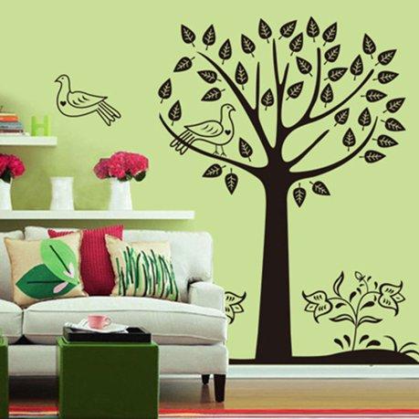 Arbre motif salon mur d calque d 39 autocollant mural blanc for Autocollant mural walmart