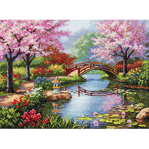 "Gold Collection Japanese Garden Counted Cross-Stitch Kit, 16"" x 12"", 16-Count"