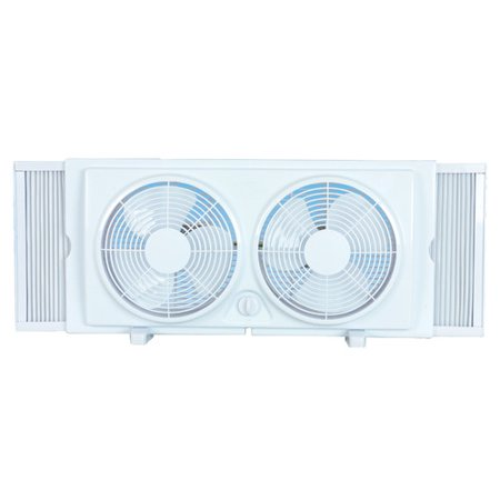 Cool works f 5280a 7 2 speed white plastic twin window for 18 window fans