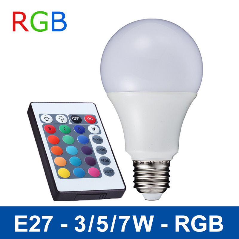 LED RGB Bulb E27 Remote Control Light Color Changing Spotlight Dimmable Magic Holiday Lamp 85-265V Size:3W