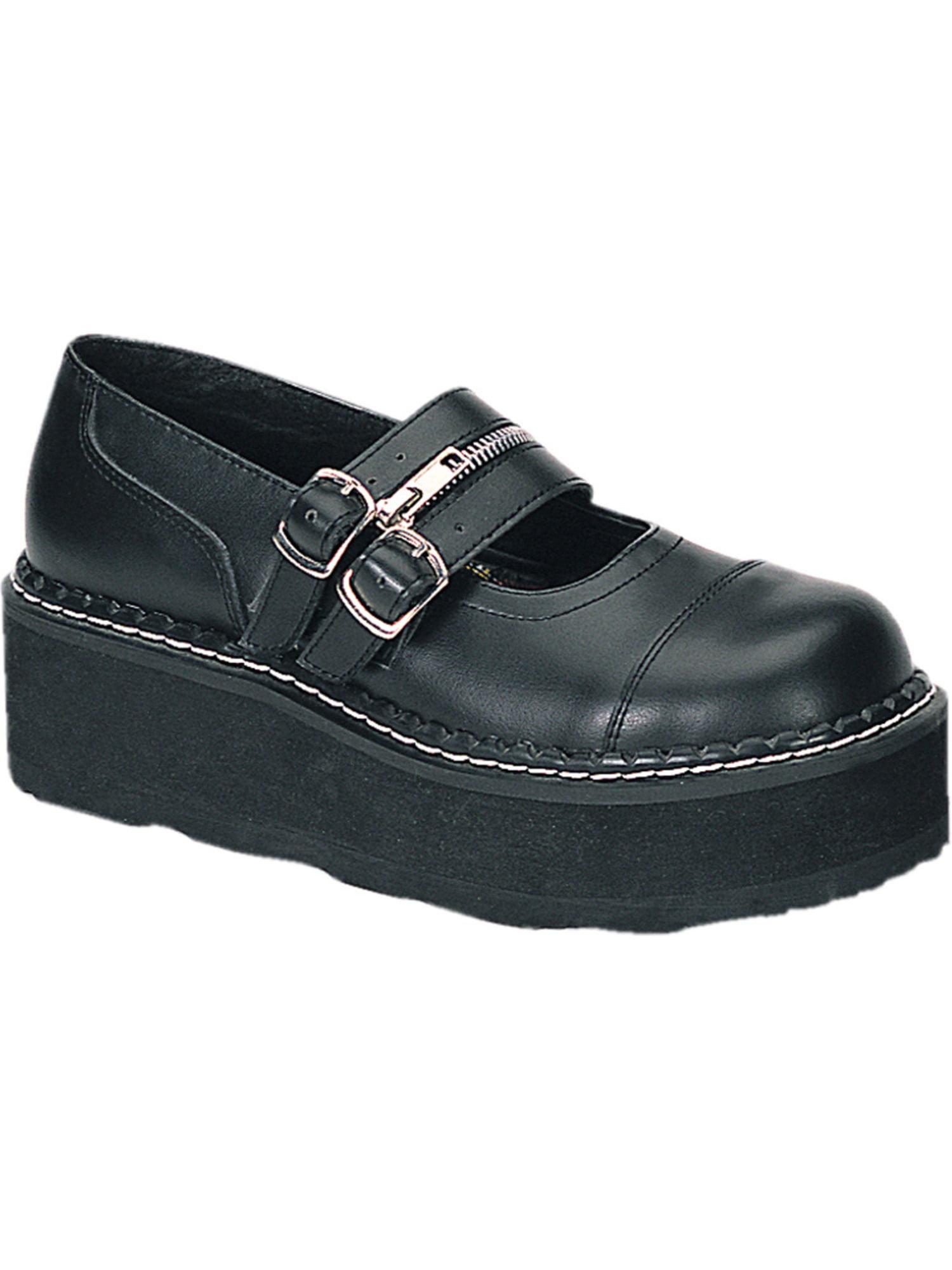 2 Inch Trendy Punk Shoe Double Strap Platform Mary Jane Shoe Black Demonia