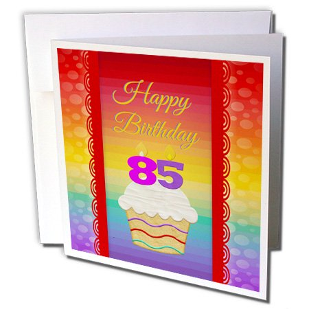 3dRose Cupcake with Number Candles, 85 Years Old Birthday - Greeting Cards, 6 by 6-inches, set of (Birthday Greetings For One Year Old Boy)