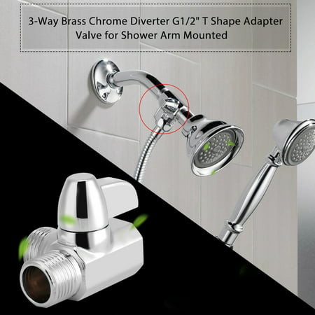 Shower Diverter,Ymiko 3-Way Brass Chrome Diverter G1/2  T Shape Adapter Valve for Shower Arm Mounted (0.5 3 Way Diverter)