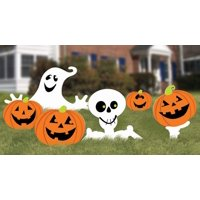 """Family Friendly Skeleton and Ghost Corrugate Yard Stake Signs Halloween Trick or Treat Party Outdoor Decoration, Plastic, 20"""" x 16"""", Pack of 6."""