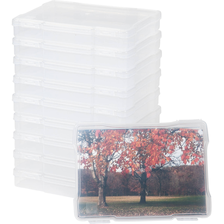 IRIS 5 x 7 Inch Photo Storage and Embellishement Craft Case, Clear Set of 10