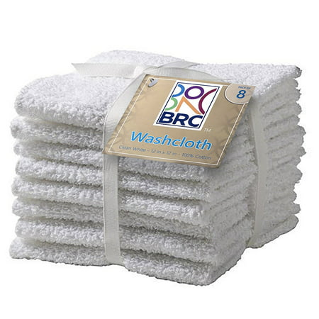 BRC Washcloths -White 12x12 - 100% Pure Ringspun Cotton Terry - 8 Pack - Looks Great - Easy Care Machine -