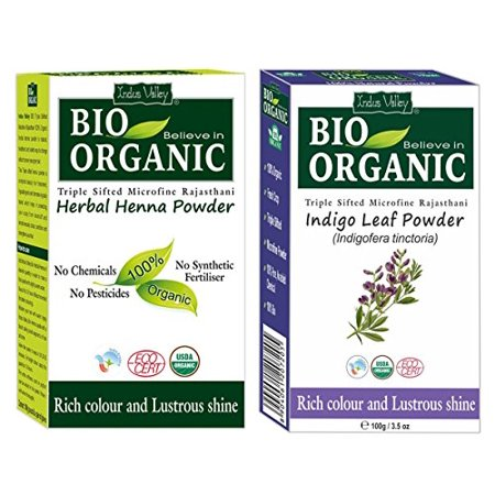 Indus Valley Bio Organic Pure and Natural Indigo and Henna Powder for Back Hair Colour (100g,