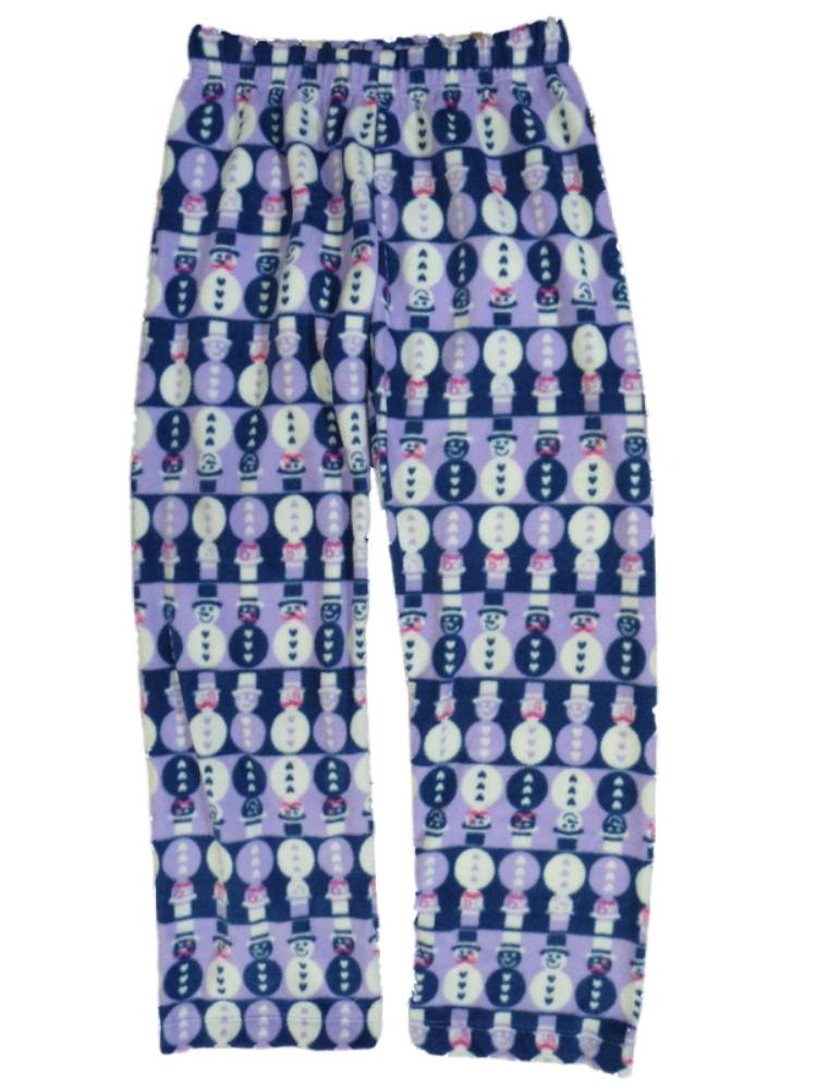 Girls Purple & Blue Fleece Sleep Pants Snowman Pajama Bottoms Lounge Size XL
