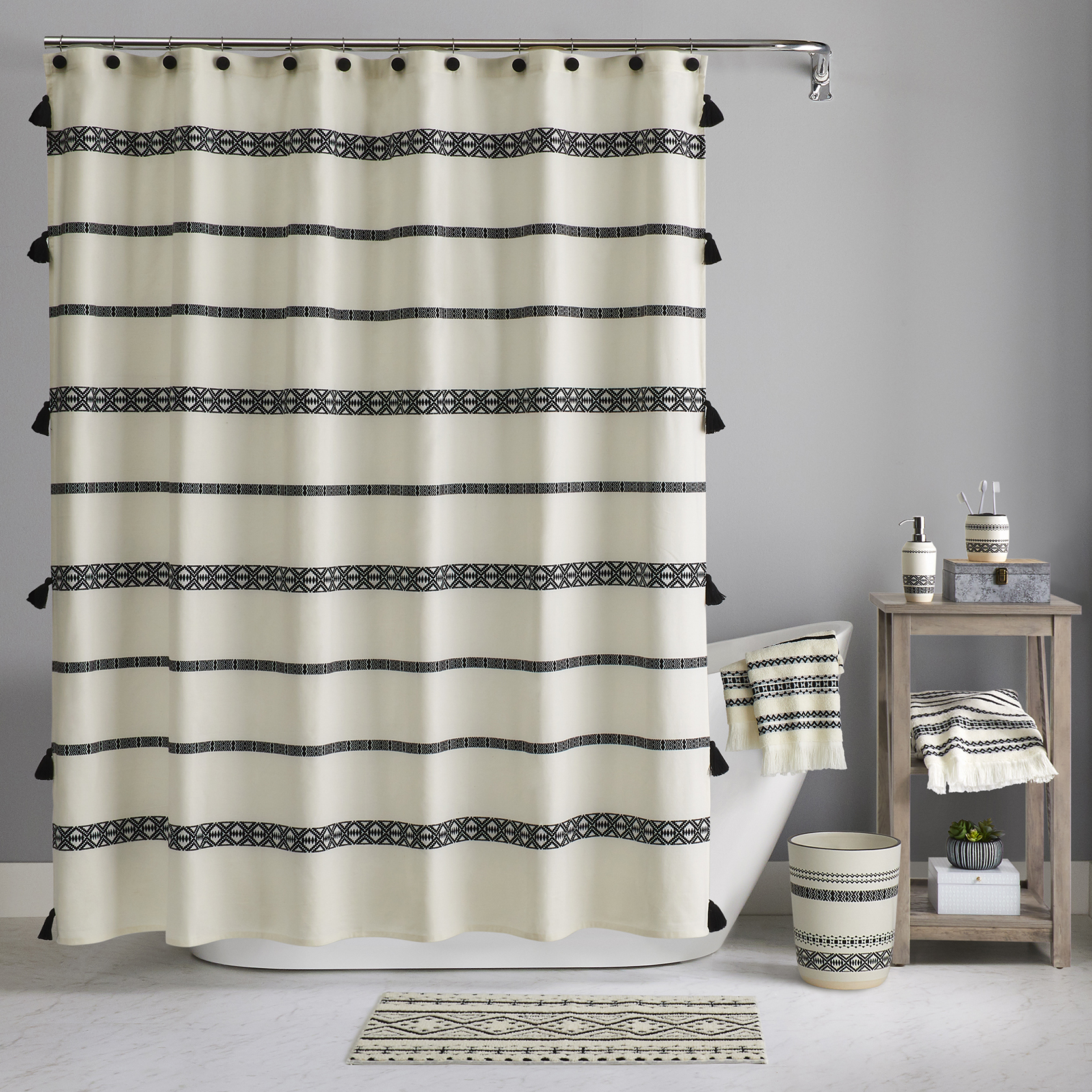 Better Homes And Gardens Boho Chic Shower Curtain Walmart Com Walmart Com