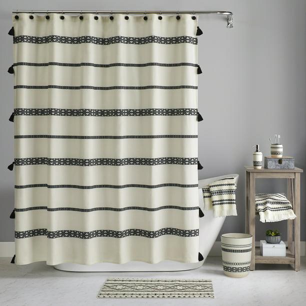 Boho Chic Cotton Shower Curtain Beige, Black And Cream Shower Curtain