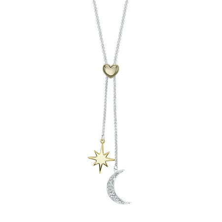 Believe by Brilliance 14kt Gold Flash Plated Crystal Star and Crescent Moon Adjustable Pendant Necklace, 30