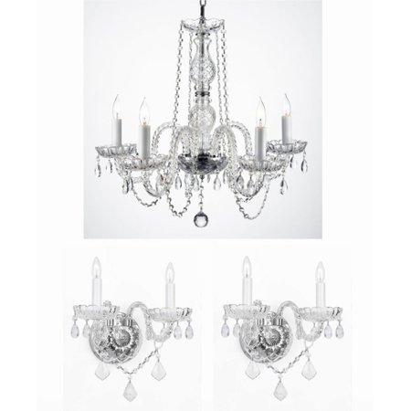 Clear Flush Sconce (Harrison Lane Royal T22-100 Crystal 3 Piece Chandelier and Wall Sconce Set)