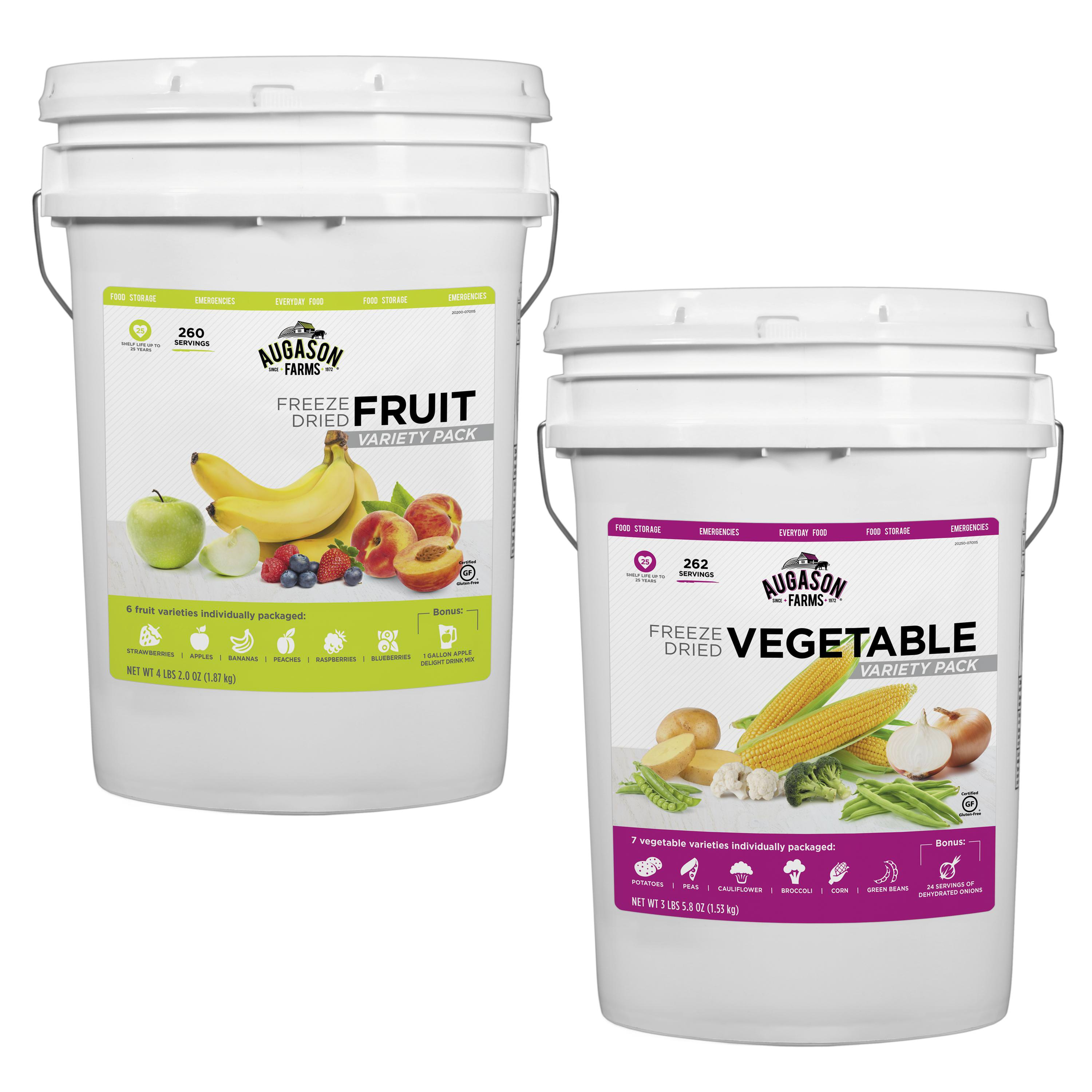 Augason Farms Freeze Dried Fruit & Veggie Variety Combo Pail Kit