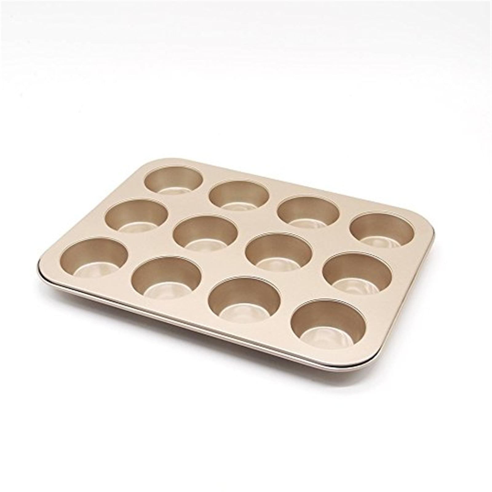 Non-stick Muffin Pan 12 Cups Cupcake Baking Pans Mini Cake Baking Mold, Gold