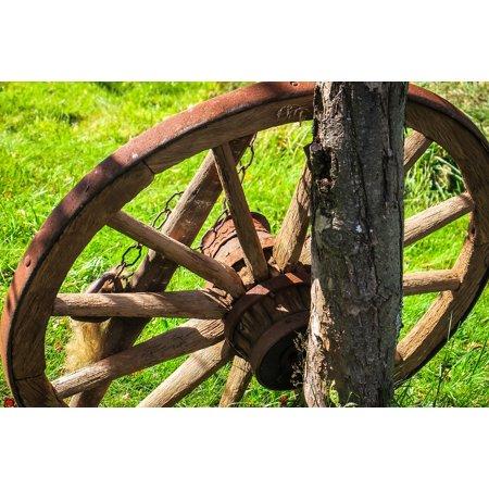 LAMINATED POSTER Farm Spokes Wheel Wooden Wheel Wagon Wheel Old Poster Print 24 x 36 (36 Wooden Wagon Wheel)