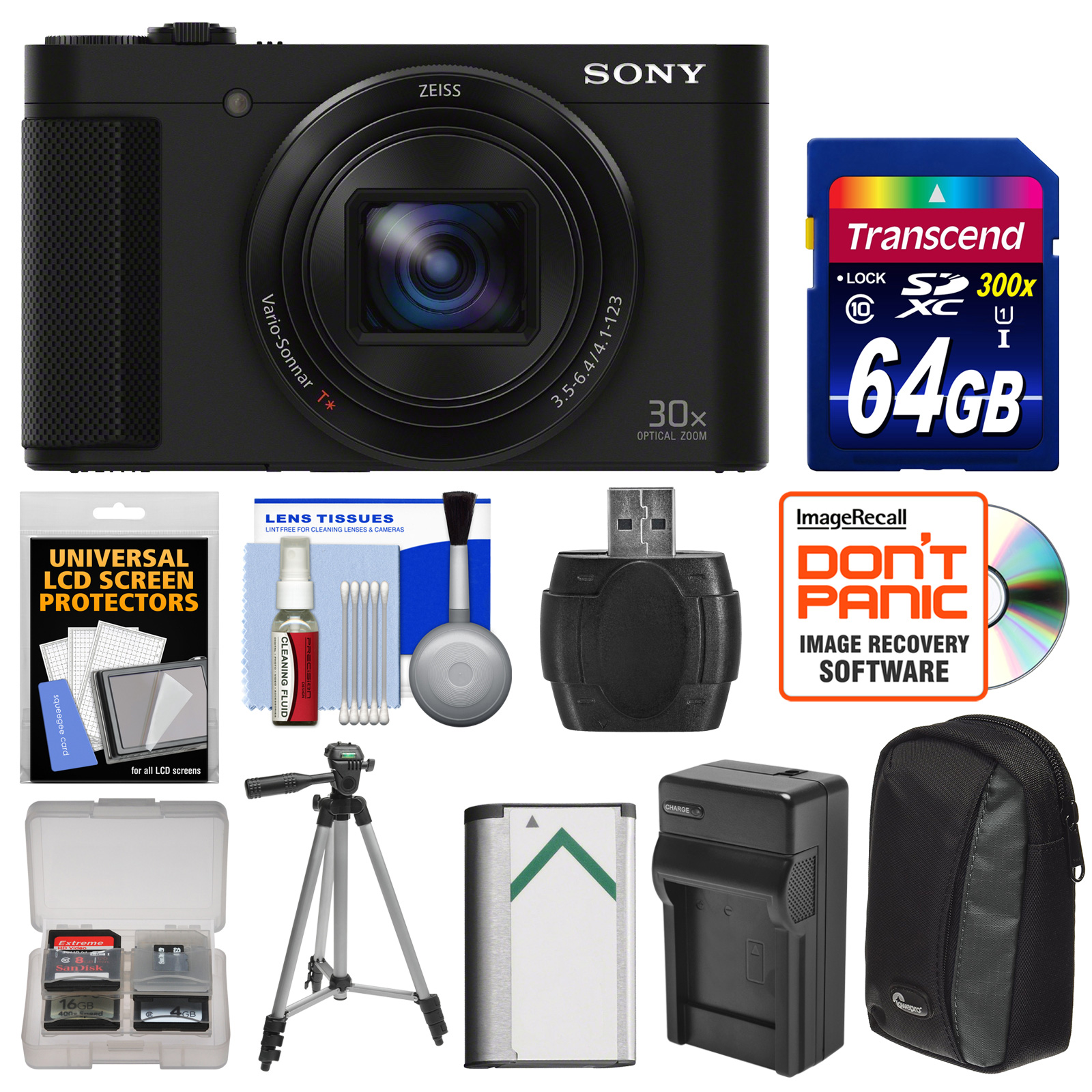 Sony Cyber-Shot DSC-HX90V Wi-Fi GPS Digital Camera with 64GB Card + Battery + Charger + Case + Tripod + Kit