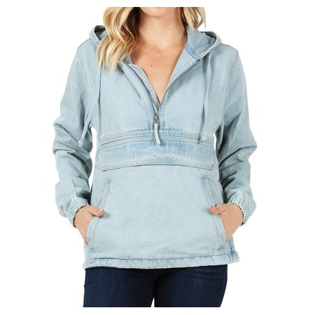 Women's Premium Cotton Casual Hoodie Half Zip Pullover Denim Jean Jacket (Light Blue, L) ()