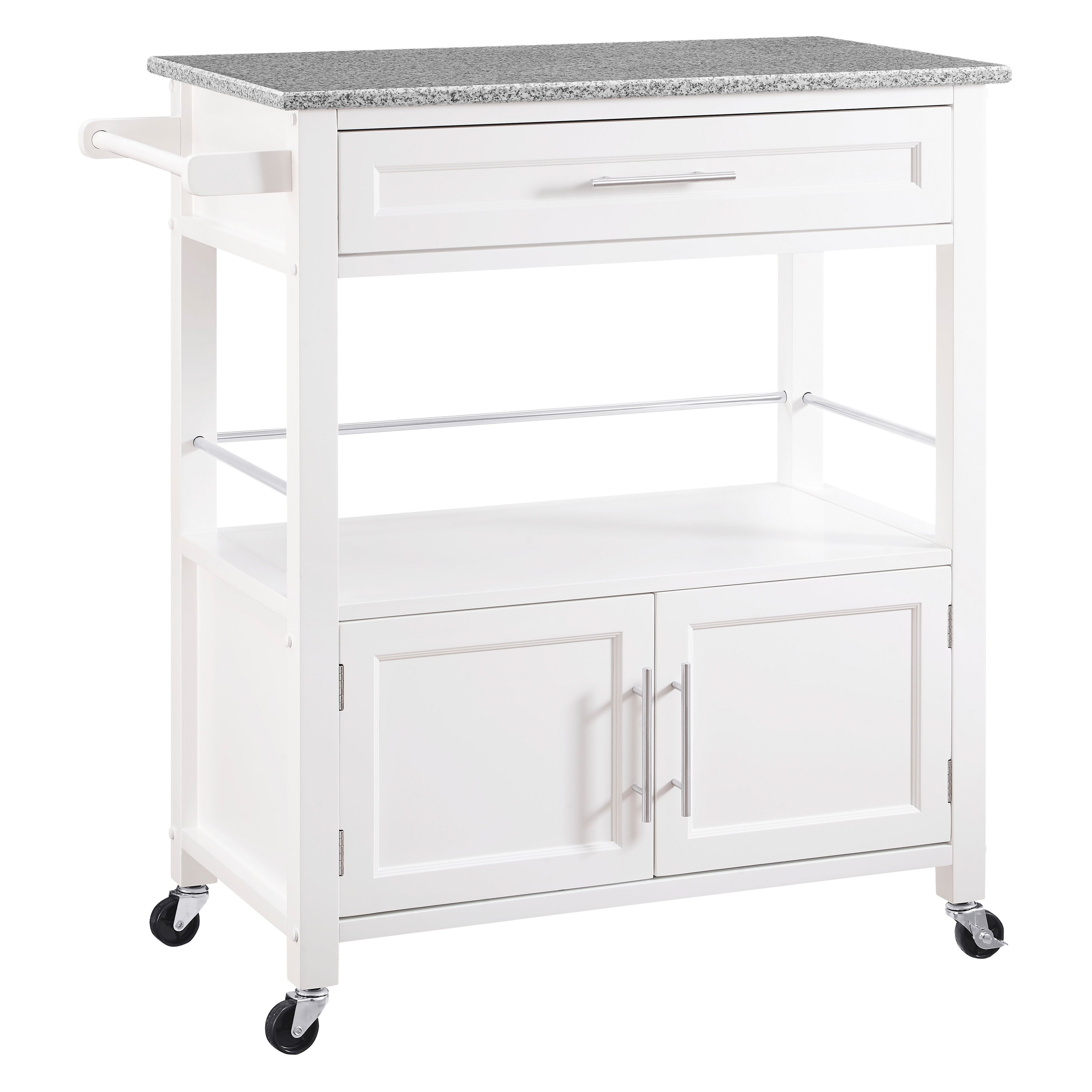 Cameron White Kitchen Cart with Granite Top by Linon Home Dᅢᄅcor Products Inc.