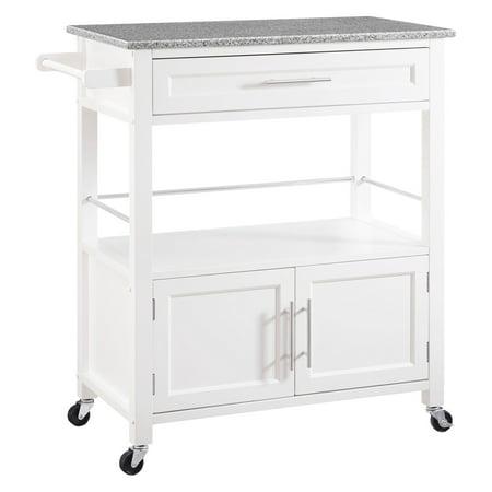 Cameron Kitchen Cart Granite Top - White Wood - Linon