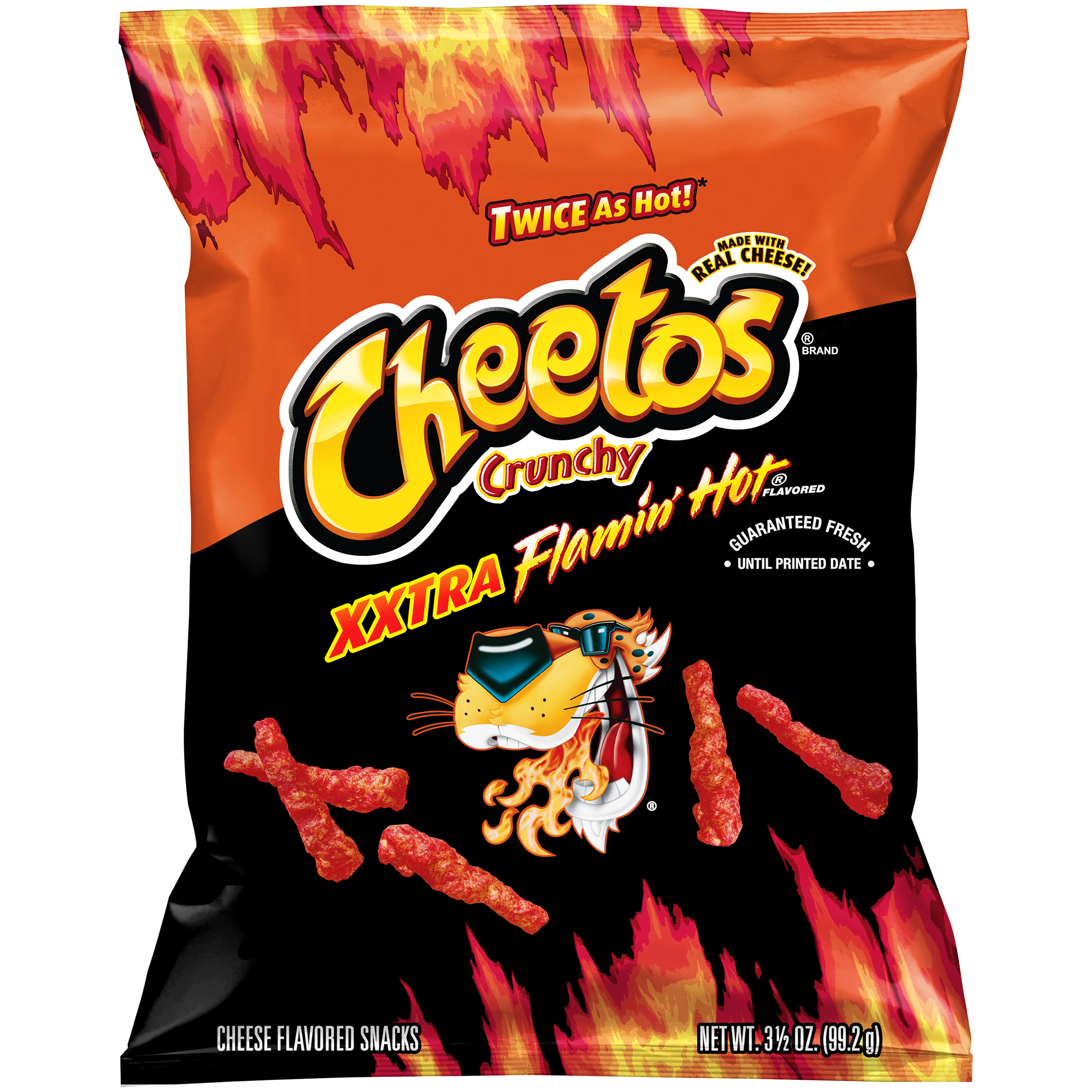 Cheetos Crunchy Xxtra Flamin' Hot Cheese Flavored Snacks 3.5 oz. Bag