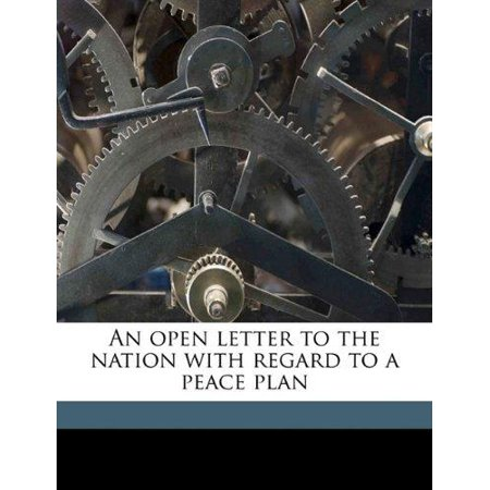 An Open Letter To The Nation With Regard To A Peace Plan