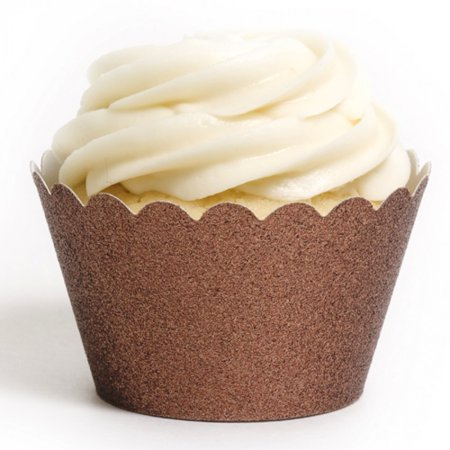 Dress My Cupcake Chocolate Brown Platinum Glitter Cupcake Wrappers, Set of 12