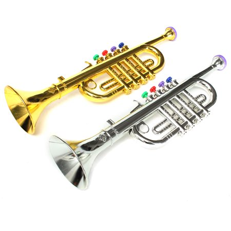 Golden / Silver Mini Horn Trumpet Bugle Kids Children Emulational Toys Stage Props Christmas Gift (Toy Bugle)