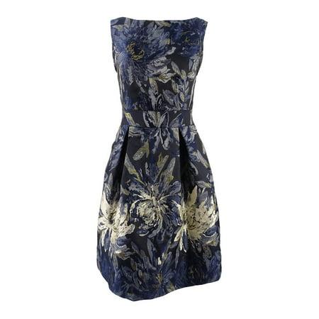 African Brocade (Jessica Howard Women's Metallic Floral Brocade Flare Dress)