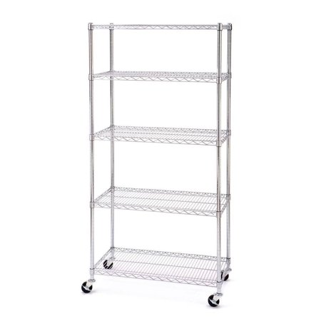 Ktaxon Commercial 5 Tier Shelf Adjustable Wire Metal Shelving Rack w/Rolling Chrome Commercial Grade Two Tier