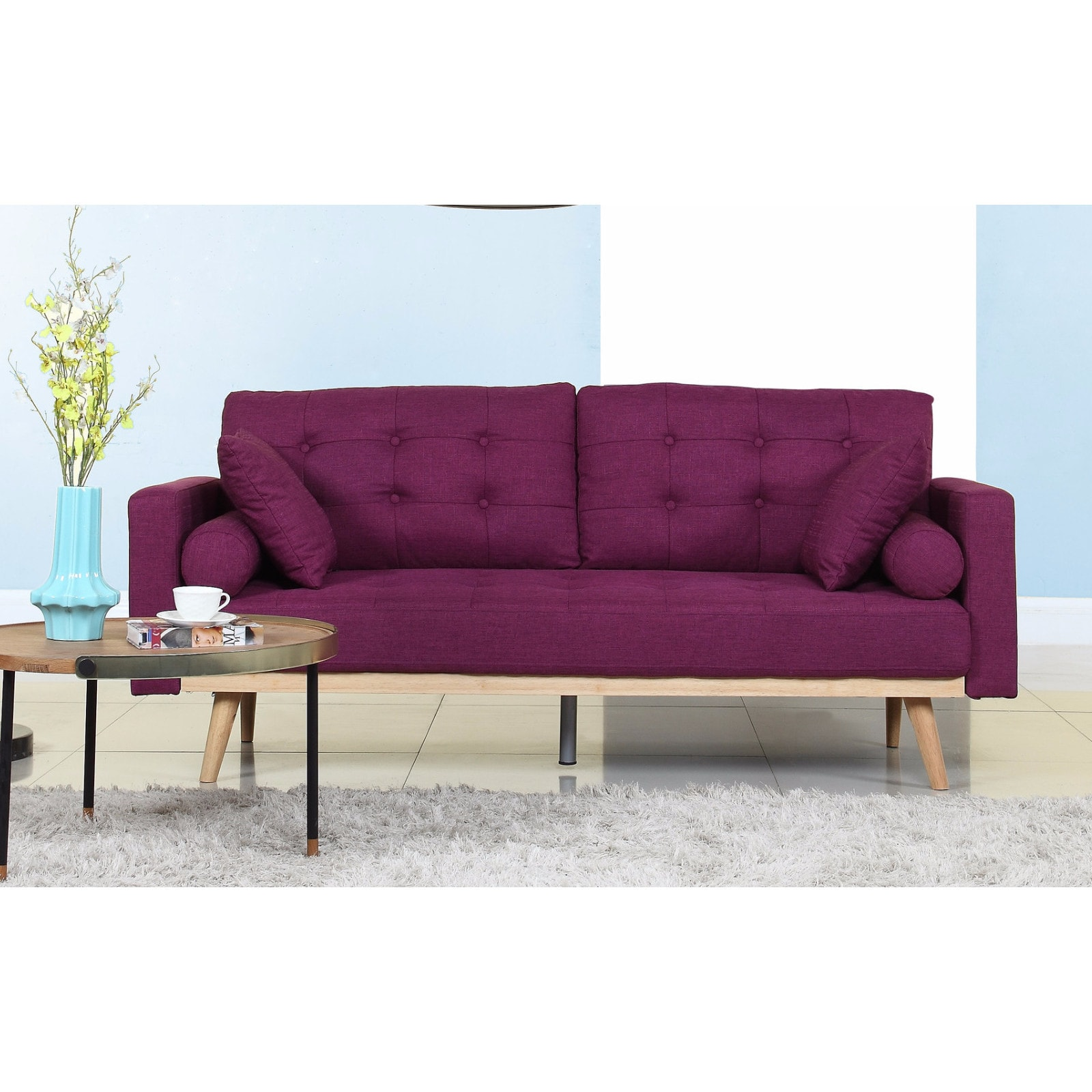 Madison Home Tufted Linen Mid Century Modern Sofa