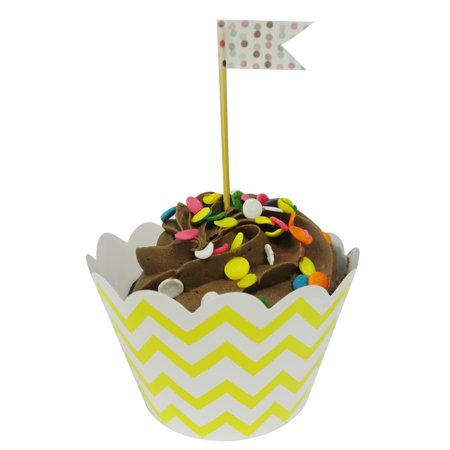 Wrapables® Standard Size Chevron Cupcake Wrappers (Set of 60), Yellow