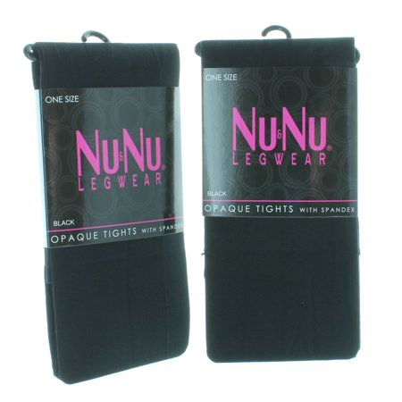 2 Pairs NuNu Black Opaque Tights One Size Ladies Winter Legwear