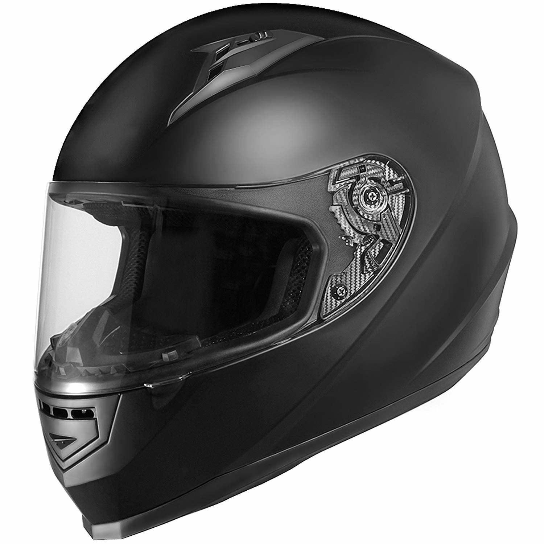 Matte Black//X-Large GLX Lightweight Full Face Street Bike Motorcycle Helmet