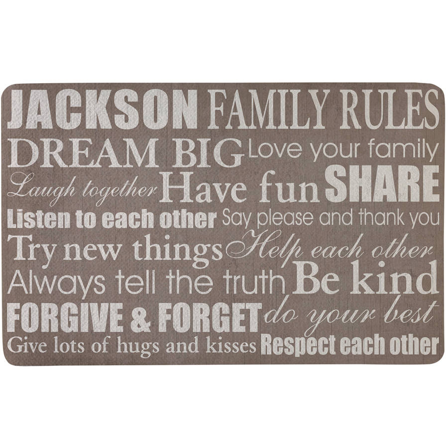 Personalized Family Rules Doormat, Taupe