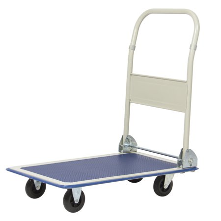 Best Choice Products 4-Wheel Foldable Rolling Warehouse Moving Flatbed Platform Dolly Push Cart w/ 330lb Capacity, Non-Slip Surface - Blue