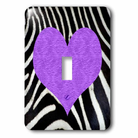 3dRose Punk Rockabilly Zebra Animal Stripe Purple Heart Print - Single Toggle Switch - Purple Zebra Print